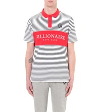 Billionaire Boys Club Monaco Cotton Pique Polo Shirt Navy Stripe Red