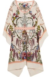 Fendi Crepe Trimmed Printed Silk Kaftan Blush