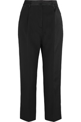 Mcq By Alexander Mcqueen Cropped Satin Paneled Wool Crepe Straight Leg Pants