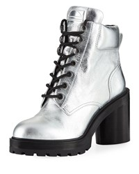 Marc Jacobs Crosby Metallic Leather Hiking Boots Silver