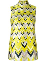 Giambattista Valli Chevron Jacquard High Neck Tank Top Yellow And Orange