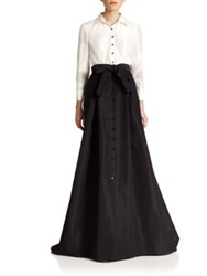 Carolina Herrera Night Collection Silk Taffeta Trench Gown White Black