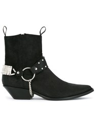 Sonora Studded Strap Cowboy Boots Black