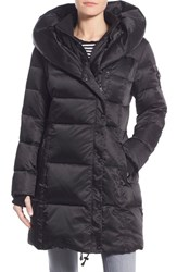 Women's Nanette Lepore Hooded Asymmetrical Zip Down Coat Black