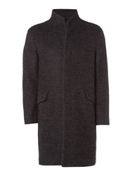 Label Lab Men's Benton Boiled Wool Coat Dark Grey