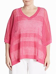Joan Vass Plus Size Linen Blend Mesh Knit Sweater Fuchsia
