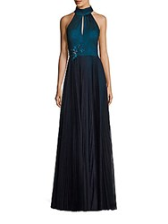 Kay Unger Pleated Halter Gown Navy
