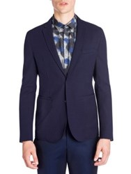 Emporio Armani Technical Soft Virgin Wool Jacket Solid Blue