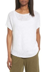 Eileen Fisher Women's Organic Linen And Cotton Knit Top White