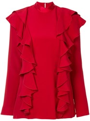 Adam By Adam Lippes Ruffle Front Blouse Red