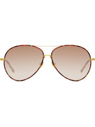 Linda Farrow Shell Print Aviator Sunglasses Brown