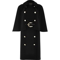 River Island Womens Black Double Breasted Cape Coat