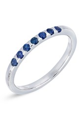 Bony Levy 18K White Gold Scallop Set Blue Sapphire Stackable Band