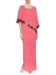 Gina Bacconi Crepe Maxi Dress And Sequin Band Chiffon Cape Coral Red