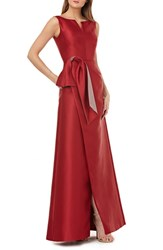 Kay Unger Twist Bow Mikado Gown Scarlet