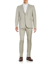 Strellson Checked Two Button Wool Blend Suit Pastel Grey