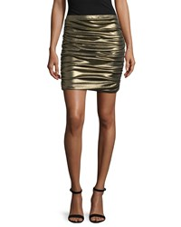 Halston Metallic Ruched Pencil Skirt Gold Aqgold