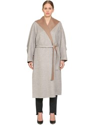 Marina Rinaldi Tropea Hooded Wool And Angora Coat Grey