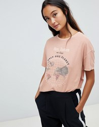 Pull And Bear Pullandbear Take Care Planet T Shirt In Rust Red