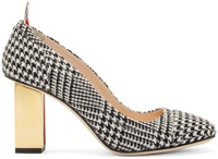 Thom Browne Black And Gold Houndstooth Pumps