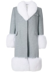 Thom Browne Oversized Flannel Chesterfield Coat With Fox Fur Trim Grey