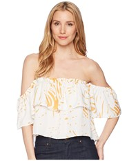 Bishop Young Riviera Off Shoulder Crop Top Riviera Clothing Blue
