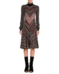 Missoni Patchwork Jacquard Turtleneck Sweater Dress Red
