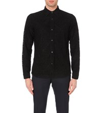 Burberry Lace Overlay Long Sleeved Shirt Black