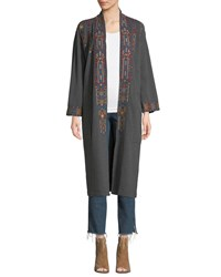Johnny Was Cleo Embroidered Long Coat Charcoal Grey