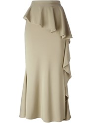 Givenchy Long Ruffled Skirt Nude And Neutrals