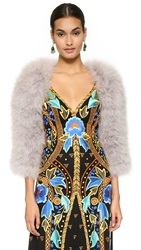 Temperley London Marabou Feather Shrug Mist Grey