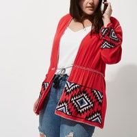 River Island Plus Collection Red Aztec Long Sleeve Kimono