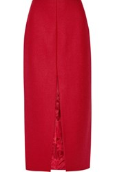 Carven Wool Blend Midi Skirt Red