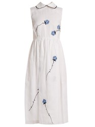 Jupe By Jackie Vote Love Rose Embroidered Cotton Dress White