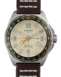 44Mm Journeyman Gmt Watch With Leather Strap Brown Cream Filson Ivory