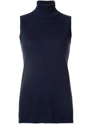 Belford High Neck Sleeveless Blouse Blue