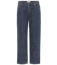 Marni Cuffed Cotton And Linen Jeans Blue