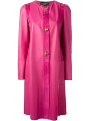 Salvatore Ferragamo Lambskin Coat Pink And Purple