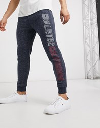 Hollister Skinny Fit Printed Logo Jogging Bottoms Navy