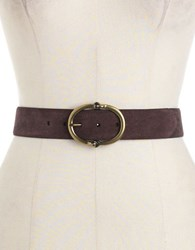 Lauren Ralph Lauren Link Buckle Suede Belt Dark Brown