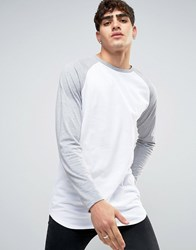 Asos Super Longline Long Sleeve T Shirt With Contrast Raglan And Curved Hem White Grey Marl