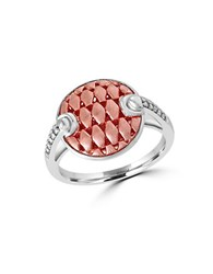 Effy Two Tone 925 Sterling Silver And Diamond Button Ring Rose