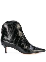 Schutz Crocodile Effect Ankle Boots Black