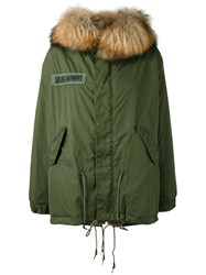 As65 Army Patch Parka Women Cotton Leather Rabbit Fur Calf Hair Xs Green