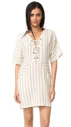 Maven West Lace Up Dolman Shift Dress Linen Stripe