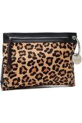 Marc By Marc Jacobs Embellished Leopard Print Calf Hair And Leather Pouch Animal Print