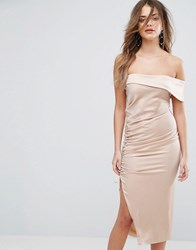 Lavish Alice Satin Ruched One Shoulder Midi Dress Mink Brown