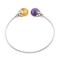 Be Jewelled Sterling Silver Amber And Amethyst Torque Bangle