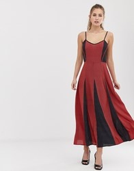 Brave Soul Gina Maxi Dress With Contrast Print Panels Navy
