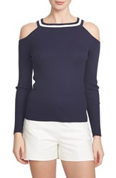 Women's 1.State Rib Cotton Cold Shoulder Sweater Evening Navy